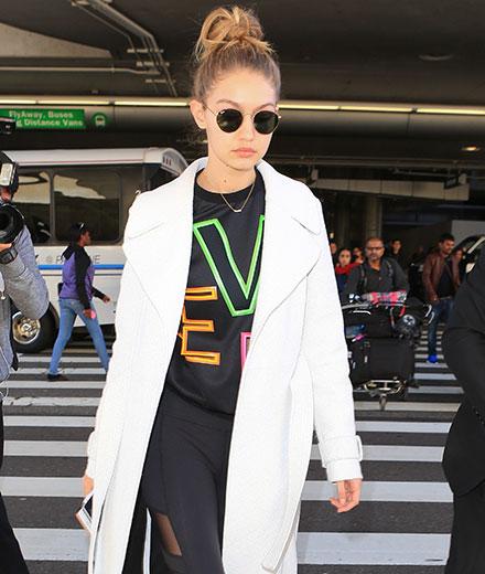 Model Gigi Hadid am Flughafen