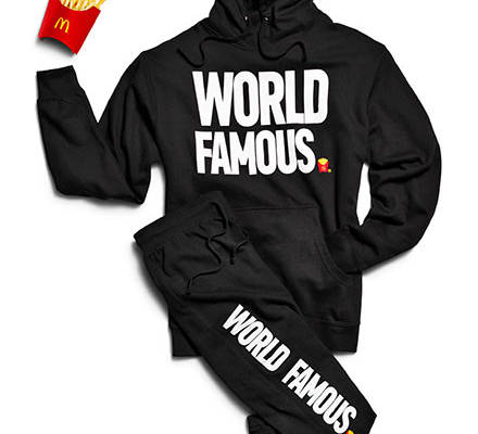 "Der McDonalds-Sweater mit dem Aufdruck ""World Famous"""
